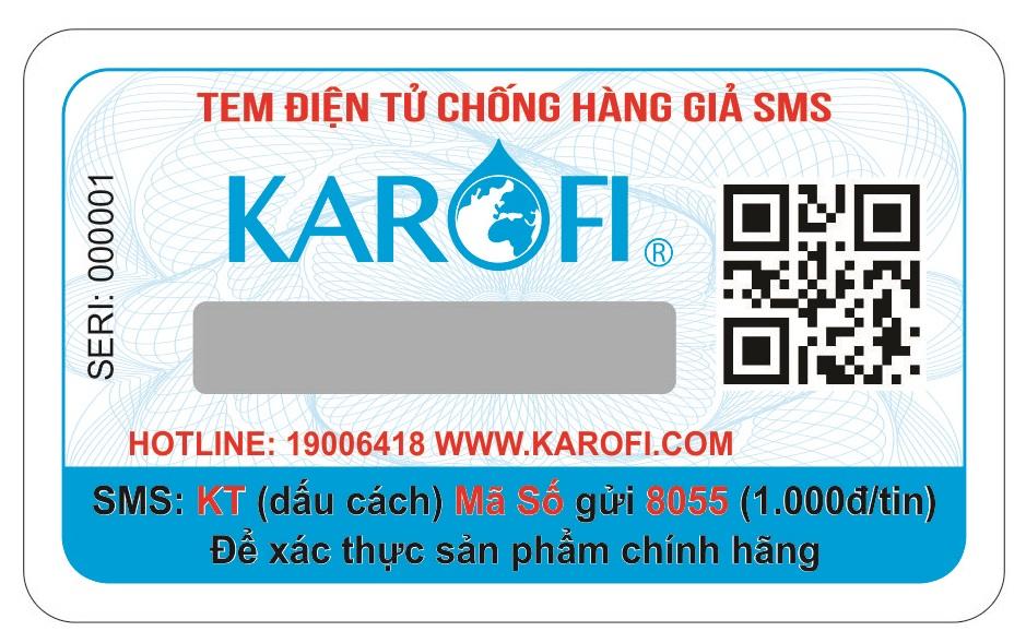 Tem kiểm tra chính hãng Máy lọc nước RO có nóng lạnh Karofi HCV351-WH